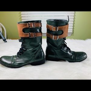 Forever 21 Green Faux Leather Lace Up Boots